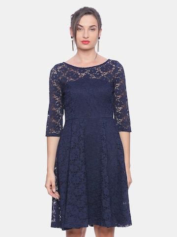 Avirate Women Navy Blue Self Design Fit & Flare Dress Avirate Dresses at myntra