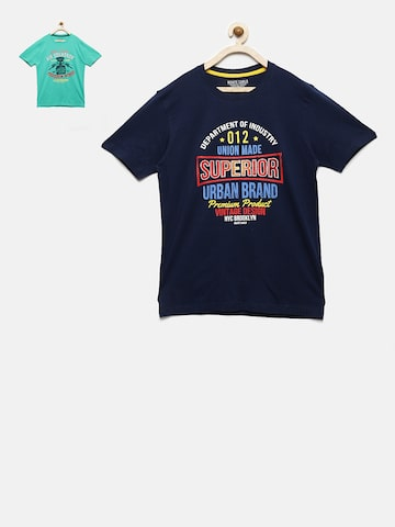 Monte Carlo Boys Pack of 2 Printed Round Neck T-shirts Monte Carlo Tshirts at myntra