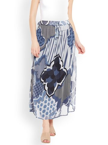 Oxolloxo Grey & Blue Printed A-Line Midi Skirt Oxolloxo Skirts at myntra