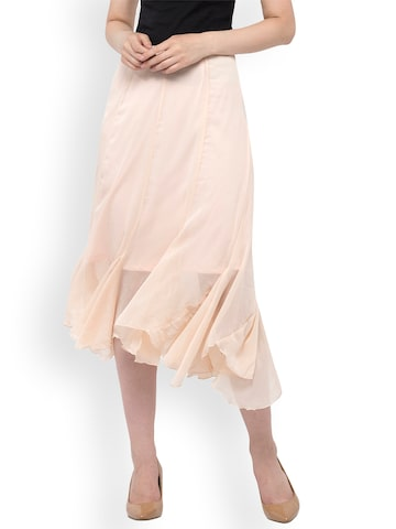 Oxolloxo Peach-Coloured Solid A-Line Sheer Midi Skirt Oxolloxo Skirts at myntra