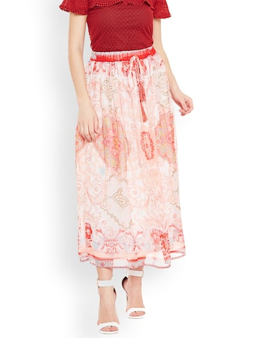 Oxolloxo Women Off-White & Pink Fusion Belted Maxi Skirt Oxolloxo Skirts at myntra