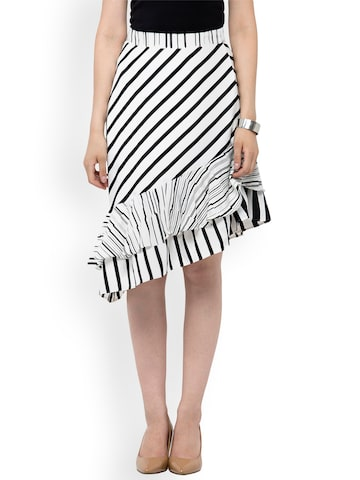 Oxolloxo Women White & Black Monochrome Striped Asymmetric Skirt Oxolloxo Skirts at myntra