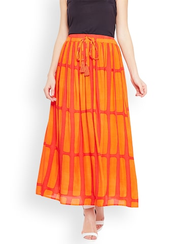 Oxolloxo Women Orange Fusion Striped Belted Maxi Skirt Oxolloxo Skirts at myntra