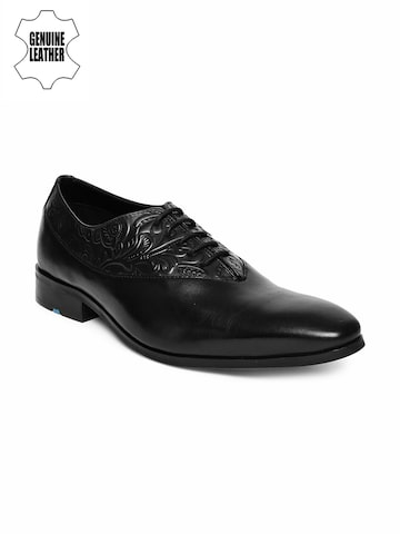 Ruosh Men Black Teo Textured Genuine Leather Oxfords Ruosh Formal Shoes at myntra
