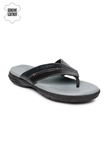 Ruosh Smart Casual Men Black & Grey Genuine Leather Comfort Sandals Ruosh Sandals at myntra
