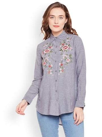 Oxolloxo Women Grey Comfort Regular Fit Self Design Casual Shirt Oxolloxo Shirts at myntra