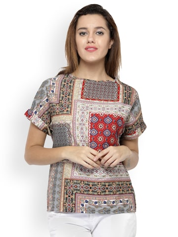 Oxolloxo Women Beige Printed Top Oxolloxo Tops at myntra