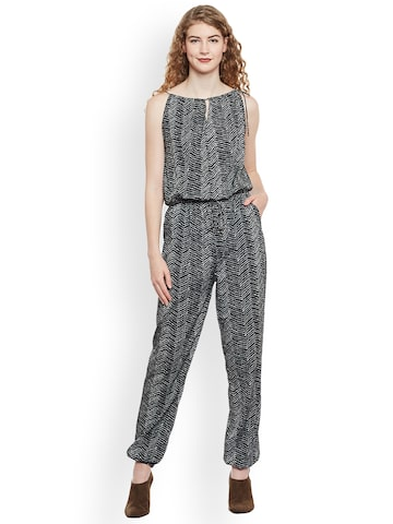 Oxolloxo Black Printed Basic Jumpsuit Oxolloxo Jumpsuit at myntra