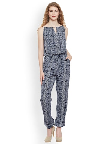 Oxolloxo Navy Blue Printed Basic Jumpsuit Oxolloxo Jumpsuit at myntra