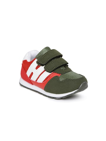 Kittens Boys Olive Green & Red Sneakers Kittens Casual Shoes at myntra