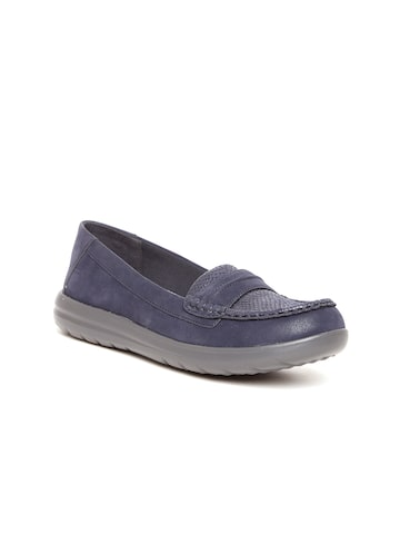 Clarks Women Navy Blue Loafers Clarks Casual Shoes at myntra