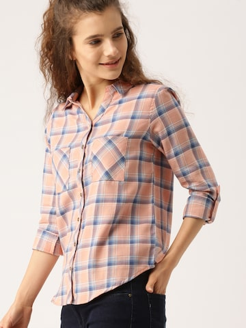 DressBerry Women Peach-Coloured & Blue Regular Fit Checked Casual Shirt DressBerry Shirts at myntra