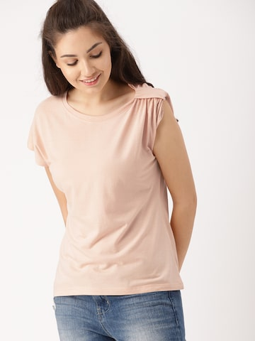 DressBerry Women Peach-Coloured Solid Top DressBerry Tops at myntra