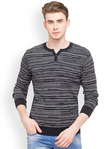 Globus Men Navy Blue & Grey Self Design Pullover Globus Sweaters at myntra