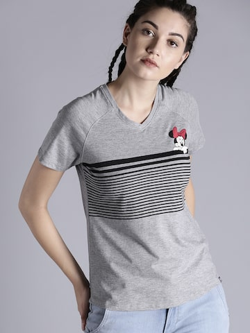 Kook N Keech Disney Women Grey Solid Round Neck T-shirt Kook N Keech Disney Tshirts at myntra