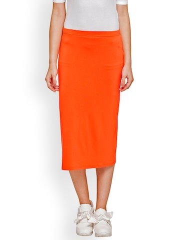 Globus Women Coral Orange Midi Pencil Skirt Globus Skirts at myntra
