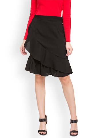 Globus Women Black Front Frill Skirt Globus Skirts at myntra