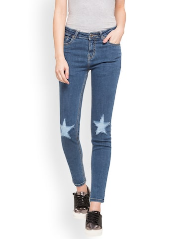 Globus Women Blue Skinny Fit Mid-Rise Mildly Distressed Stretchable Jeans Globus Jeans at myntra