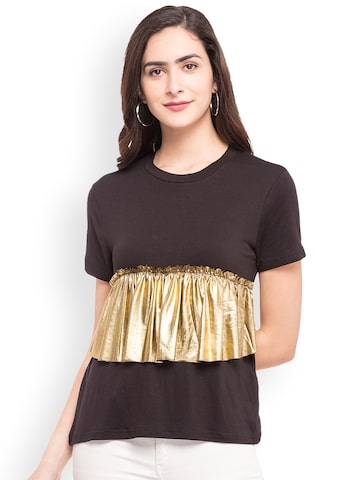 Globus Women Black & Gold-Toned Solid Top Globus Tops at myntra