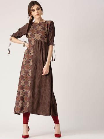 Libas Women Coffee Brown & Red Printed A-Line Kurta Libas Kurtas at myntra