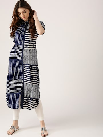 Libas Women Navy Blue & White Striped Pathani Kurta Libas Kurtas at myntra