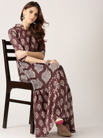 Libas Women Brown & Off-White Printed Anarkali Kurta Libas Kurtas at myntra