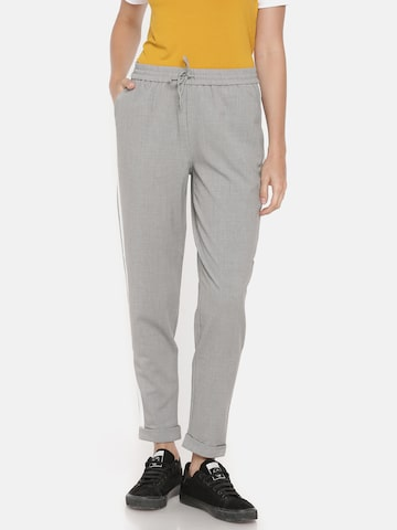 ONLY Women Grey Slim Fit Solid Regular Trousers ONLY Trousers at myntra