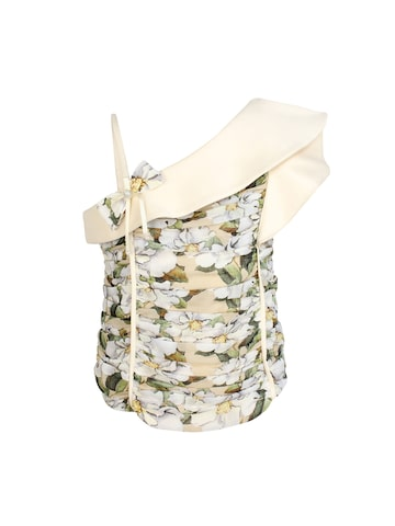 CUTECUMBER Girls Beige Printed One Shoulder Top CUTECUMBER Tops at myntra