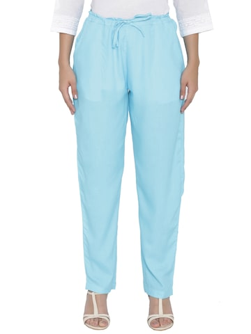 Shree Women Blue Regular Fit Solid Trousers Shree Trousers at myntra