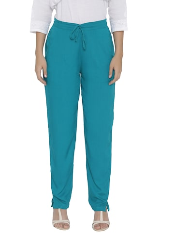 Shree Women Teal Blue Regular Fit Solid Trousers Shree Trousers at myntra