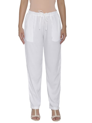 Shree Women White Solid Casual Trousers Shree Trousers at myntra