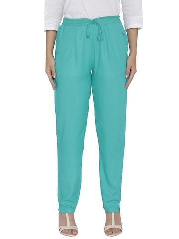 Shree Women Green Regular Fit Solid Trousers Shree Trousers at myntra