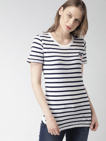Tommy Hilfiger Women White & Navy Striped Longline T-shirt Tommy Hilfiger Tshirts at myntra