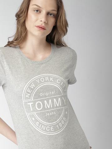 Tommy Hilfiger Women Grey Melange Printed Round Neck T-shirt Tommy Hilfiger Tshirts at myntra