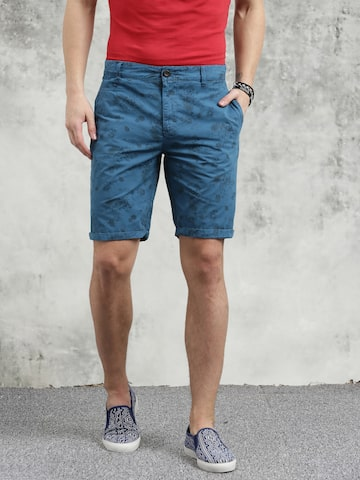 Breakbounce Men Blue Printed Slim Fit Regular Shorts Breakbounce Shorts at myntra