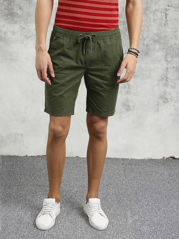 Breakbounce Men Olive Green Washed Slim Fit Chino Shorts Breakbounce Shorts at myntra