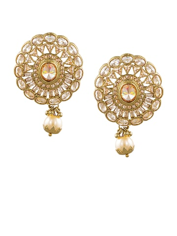 Sia Art Jewellery Gold-Toned Circular Drop Earrings Sia Art Jewellery Earrings at myntra