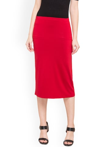 Globus Woman Red Straight Midi Skirt Globus Skirts at myntra