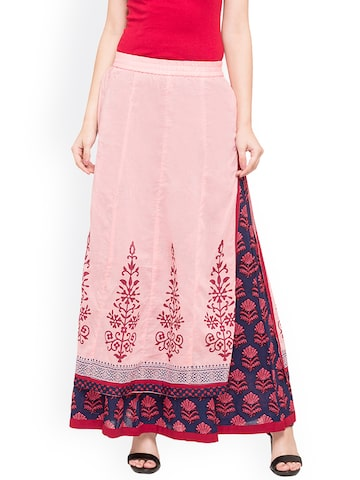 Globus Woman Pink, Navy blue & Maroon Midi Skirt Globus Skirts at myntra