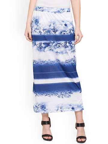 Globus Woman Blue and White Mini Skirt Globus Skirts at myntra