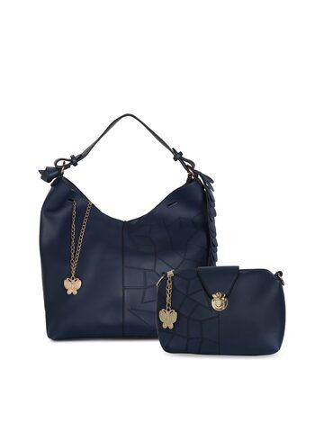 Butterflies Navy Blue Solid Hobo Bag Set of 2 Butterflies Handbags at myntra