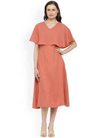 Magnetic Designs Women Peach-Coloured Solid A-Line Dress Magnetic Designs Dresses at myntra