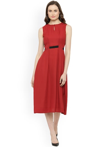 Magnetic Designs Women Maroon Solid Fit and Flare Dress Magnetic Designs Dresses at myntra