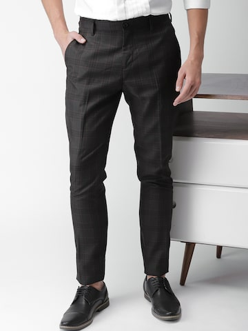 INVICTUS Men Coffee Brown Regular Fit Checked Formal Trousers INVICTUS Trousers at myntra