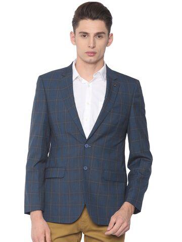 Raymond Men Blue Checked Contemporary Fit Single-Breasted Smart Casual Blazer Raymond Blazers at myntra