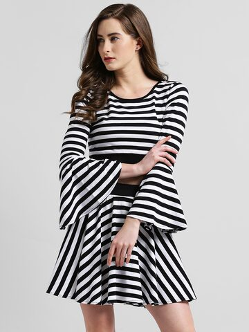 Texco Women Black Striped Fitted Top Texco Tops at myntra