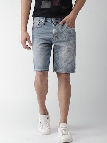 Levis Men Blue Printed Regular Fit Denim Shorts Levis Shorts at myntra