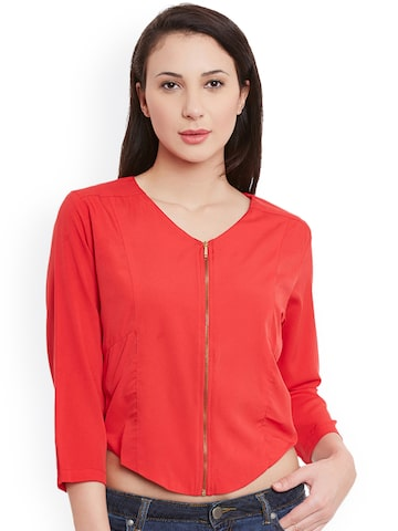 Meee Women Red Solid Open Front Jacket Meee Jackets at myntra