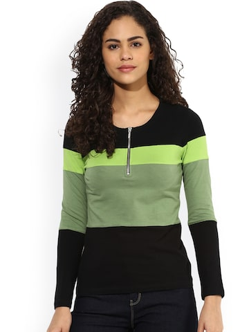 Texco Women Olive Green Colourblocked Top Texco Tops at myntra