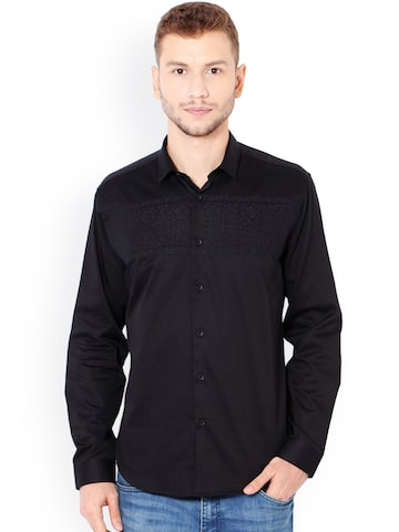 V Dot Men Black Slim Fit Self Design Casual Shirt V Dot Shirts at myntra